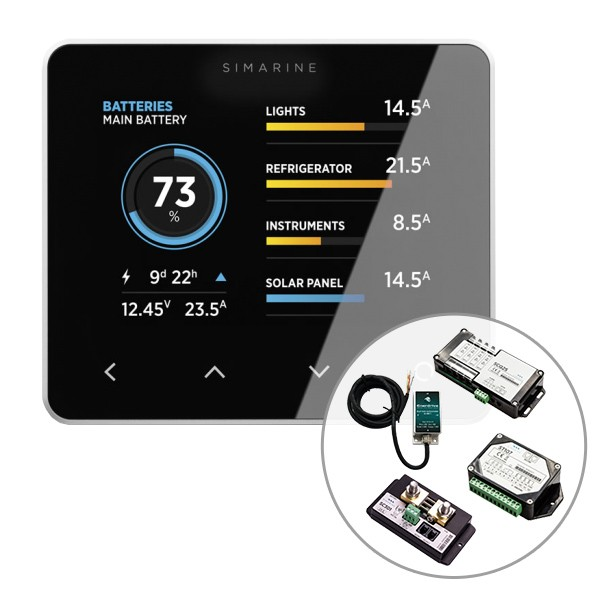 Simarine by Enerdrive, Digital Battery Monitor Pack (Shunt 300A, Quad Shunt 4 x 25A, Tank Module & Inclinometer)