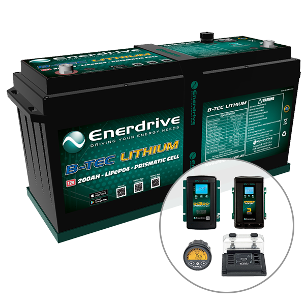 Enerdrive ePOWER B-TEC 200Ah Lithium Battery 40A DC2DC + 40A AC with ePro+ Monitor Charger Pack