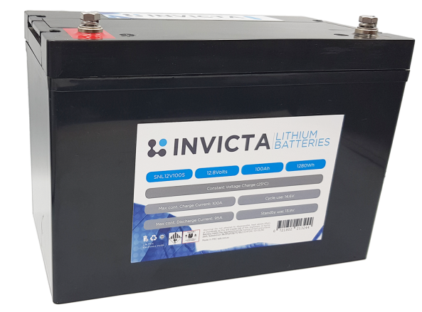 Invicta 12V 100Ah Lithium Battery with 4 Series Functionality