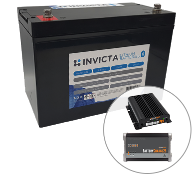 Invicta 12V 200Ah Lithium Battery with Bluetooth + BMPRO 30Ah 12V DC Battery Charger + BMPRO 25Ah 12V AC Battery Charger