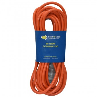 Coast 8m/15A Heavy Duty 240V Extension Lead - LED Equipped. MD-15+MD-15Z/8 - Caravan Lighting & Electrical