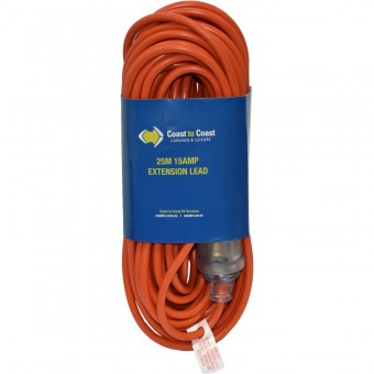 Coast 25m/15A Heavy Duty Extension Lead - LED Equipped. MD-15+MD-15Z/25 - Extension Cords & Cables