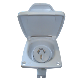 CMS White 15A Plug Power Inlet. JIL15 WT - Vehicle Outlets & Sockets