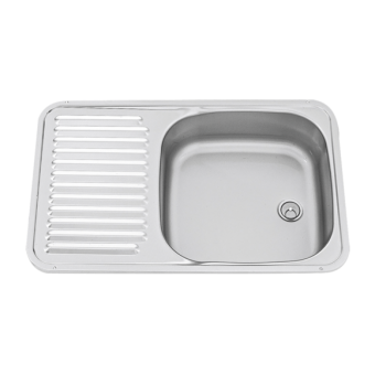 Dometic Square Sink & Drainer Combination, Stainless Steel, with Plug & Waste - Caravan Sinks & Taps