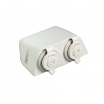 Baintech 12V White Ciga Socket Surface Mount Double - Root Catalog