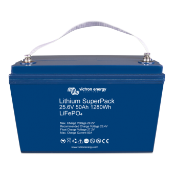 Victron Lithium SuperPack 25.6V/50Ah with M8 threaded insert terminals - Off Grid Batteries