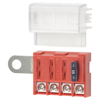 Blue Sea ST Blade Battery Terminal Mount Fuse Block 4 Circuits with Cover - Off Grid Circuit Protection