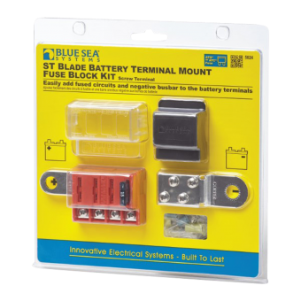 Blue Sea ST Blade Battery Terminal Mount Fuse Block Kit 4 Circuits with Negative Bus & Cover - Marine Electrical