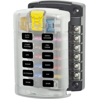Blue Sea ST Blade Fuse Block 12 Circuits with Cover - Root Catalog