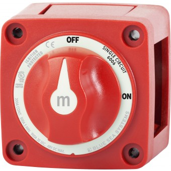 Blue Sea m-Series Red Mini On-Off Battery Switch with Knob - Marine Battery Accessories