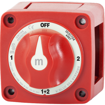 Blue Sea m-Series Red Mini Selector Off-1-2-Both Battery Switch with Knob - Battery Switches