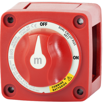 Blue Sea m-Series Red Mini Off-On-Emergency Parallel Battery Switch with Knob - Battery Switches