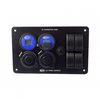 Baintech 005 DC Distribution Panel; with 4 Rocker Switches, Volt Meter, USB, Ciga & Engel Socket - Root Catalog