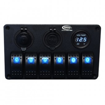 Baintech 12/24V LED 6 Way Rocker Switch Panel; with Volt Meter, Ciga & USB Socket - Root Catalog