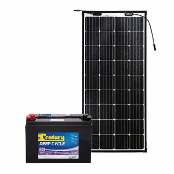 Century 105Ah AGM Deep Cycle Battery Bundle with eArc Flexible Solar Panel - Battery Bundles