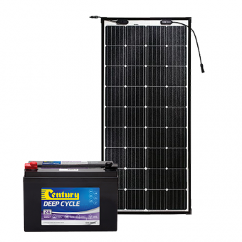 Century 120Ah AGM Deep Cycle Battery Bundle with eArc Flexible Solar Panel - Battery Bundles