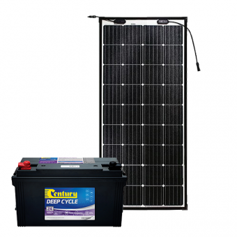 Century 125Ah AGM Deep Cycle Battery Bundle with eArc Flexible Solar Panel - Battery Bundles