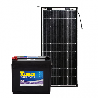 Century 140Ah AGM Deep Cycle Battery Bundle with eArc Flexible Solar Panel - Battery Bundles