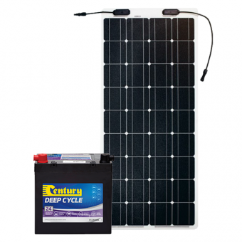 Century 55Ah AGM Deep Cycle Battery Bundle with eArc 100W Flexible Solar Panel - Root Catalog
