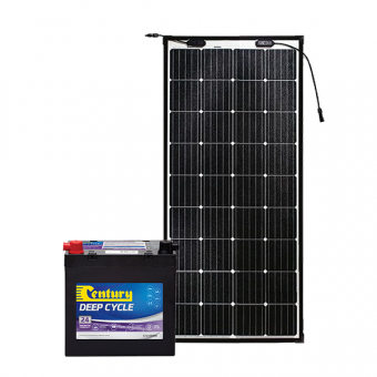 Century 75Ah AGM Deep Cycle Battery Bundle with eArc Flexible Solar Panel - Root Catalog
