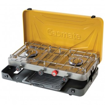 Gasmate 2 Burner Folding Stove with Grill - Caravan Cooktops, Ovens & Stoves