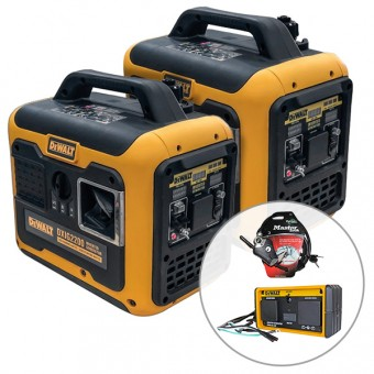 2 x DeWalt DXIG2200, 2200W Inverter Generator with Parallel Kit - Recreational Generators