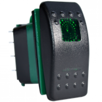 Enerdrive 7 Pin On-Off-(On) DPDT Rocker Switch, Green - Root Catalog