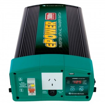 Enerdrive ePOWER 2600W 12V Pure Sine Wave Inverter with RCD & AC Transfer Switch - Power Inverters & Adaptors