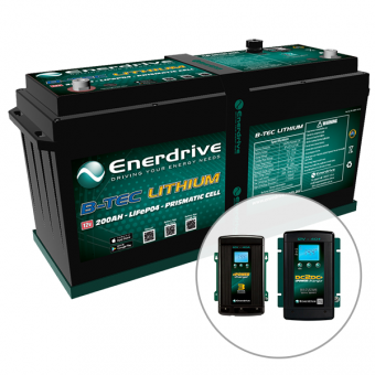 Enerdrive ePOWER B-TEC 200Ah Lithium Battery, 40A DC2DC + 40A AC Charger Pack - 4WD & Camping SALE