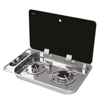 NCE CAN 2 Burner Rectangular Hob-Unit with Piezzo Ignition - Caravan Cooktops