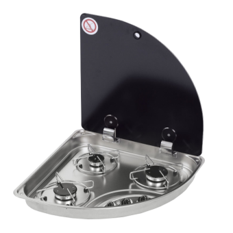 NCE CAN 3 Burner Triangular Hob-Unit with Electronic Ignition - Caravan Cooktops