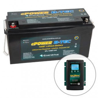Enerdrive ePOWER B-TEC 24V 100Ah Lithium Battery & 24V 30A DC2DC Charger Pack - SALE