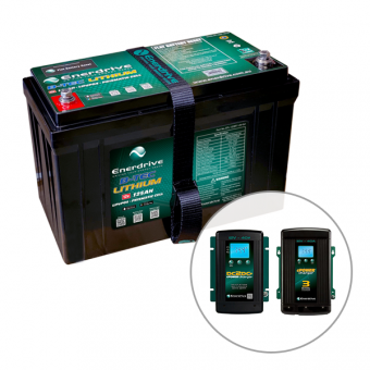 Enerdrive ePOWER B-TEC 125Ah Lithium Battery, 40A DC2DC Charger & 40A AC Charger Pack - 4WD & Camping SALE
