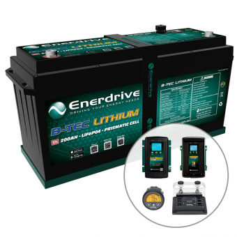Enerdrive ePOWER B-TEC 200Ah Lithium Battery 40A DC2DC + 40A AC with ePro+ Monitor Charger Pack - 4WD & Camping SALE