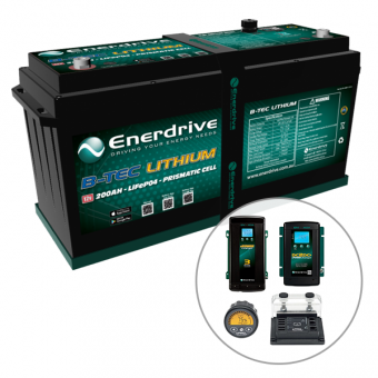 Enerdrive ePOWER B-TEC 200Ah Lithium Battery 40A DC2DC + 60A AC with ePro+ Monitor Charger Pack - BEST SELLERS