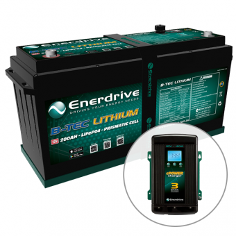 Enerdrive ePOWER B-TEC 200Ah Lithium Battery & 40A AC2DC Charger Pack - Batteries & Power Systems