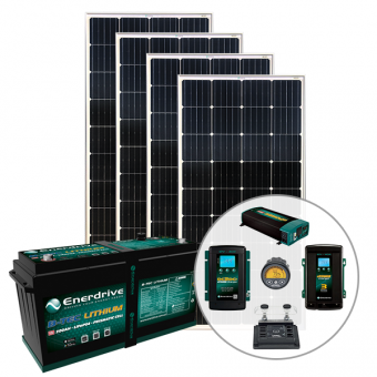 Enerdrive 200Ah Off-Grid 40A AC & DC Charging Bundle, with 720W of Solar Panels and 2000W Inverter (AC Transfer) - Solar Panel Bundles