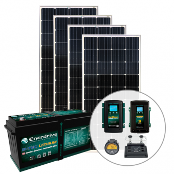 Enerdrive 200Ah Off-Grid 40A AC & DC Charging Bundle, with 720W Solar Panels - Solar Panel Bundles