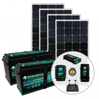 Enerdrive 400Ah Off-Grid 40A DC & 60A AC Charging Bundle, with 720W of Solar Panels and 2000W Inverter (AC Transfer) - Solar Panel Bundles