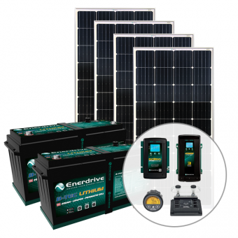 Enerdrive 400Ah Off-Grid 40A DC & 60A AC Charging Bundle, with 720W Solar Panels - Solar Panel Bundles