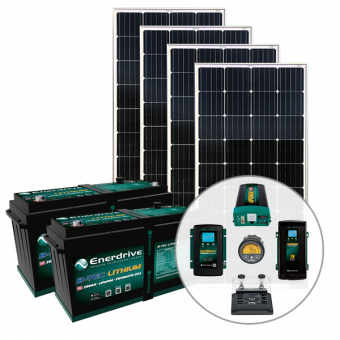 Enerdrive 400Ah Off-Grid 40A DC & 60A AC Charging Bundle, with 720W of Solar Panels and 2600W Inverter (AC Transfer) - Solar Panel Bundles