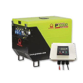 Pramac 11.9kVA Petrol Silenced Generator + 2 Wire Auto Start Controller - Petrol Auto Start Generators For Off-Grid Solar