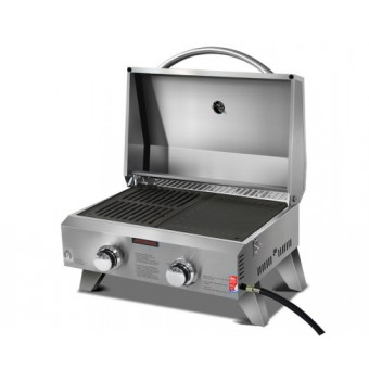 Grillz Portable Gas BBQ Grill with 2 Burner - Camping Cooking Appliances
