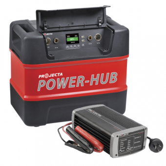 Projecta PH125 12V Portable Power-Hub & IC1000 12V Automatic 10A 7 Stage Battery Charger Pack - Power Packs & Battery Boxes