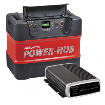 Projecta PH125 12V Portable Power-Hub & IDC25 Automatic 9-32V 25A 3 Stage DC/Solar Battery Charger Pack - Power Packs & Battery Boxes