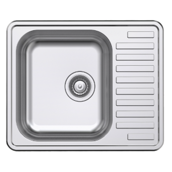 NCE 585mm One Piece Square Stainless Steel Sink with Off-centre Drain - Caravan Sinks