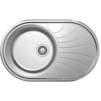 NCE One Piece Round Stainless Steel Sink with Drain - Caravan Sinks