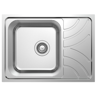 NCE 605mm One Piece Square Stainless Steel Sink with Off-centre Drain - Root Catalog