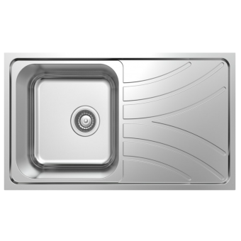 NCE 780mm One Piece Square Stainless Steel Sink with Off-centre Drain - Caravan Sinks