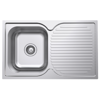 NCE 780mm One Piece Square Stainless Steel Sink with Drain - Caravan Sinks